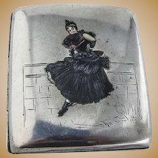 Cigarette Case Enamel Lady 800 Silver
