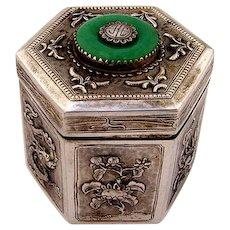 Chinese Export Silver Box Tea Caddy Hexagonal Form Animal Designs