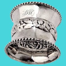 Napkin Ring Beaded Borders Coin Silver 1870