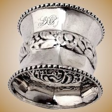 Napkin Ring Beaded Borders Coin Silver 1870