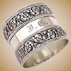 Tiffany Napkin Ring Foliate Ornate Designs Sterling Silver