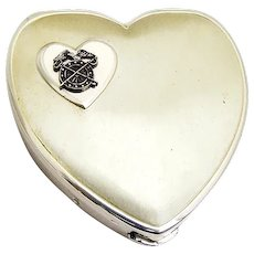 Heart Form Powder Compact with Mirror Screen Puff Sterling Silver Minge Co