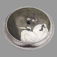 Mixed Metals Shibuchi Round Lidded Bowl Box Tancho Birds Sterling Taisho Era Japan