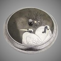 Mixed Metals Shibuchi Round Lidded Bowl Box Tancho Birds Sterling Taisho Era Japan