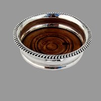 Sheffield Plate Wine Coaster Wood Base 1800