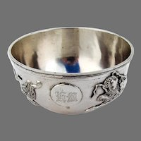 Chinese Export Silver Bowl Dragon Decorations Nanking Stores 1895