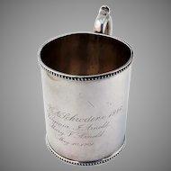 Cup Mug Coin Silver Ball Tompkins and Black NY 1946