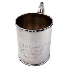 Cup Mug Coin Silver Ball Tompkins and Black NY 1946