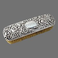 Repousse Clothes Brush Sterling Silver Horse Hair 1900
