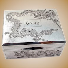 Chinese Export Box Dragon Design Hammered Sterling Silver 1900