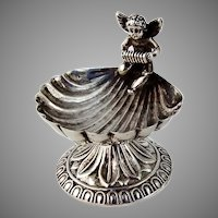 Open Salt Dish Shell Cupid Playing Accordion Sterling Silver