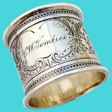 Napkin Ring Coin Silver Bird Engraved Decorations 1870