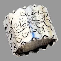 Aesthetic Style Napkin Ring Sterling Silver Ginkgo Leaf Decorations
