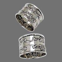 Strasbourg Napkin Rings 2 Sterling Silver Gorham Silversmiths