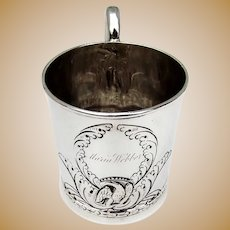 Cup Chased Eagle Design Coin Silver G Clark 1840-1850