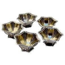 Hexagonal Open Salts 5 Sterling Silver Woodside Silver Co