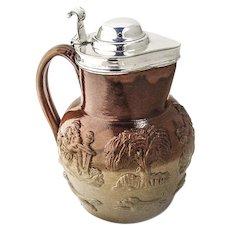 Antique Lidded Jug Salt Glazed Mortlake Stoneware George Richmond Collis 1880