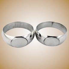 Napkin Rings 2 Coin Silver Hollow 1890