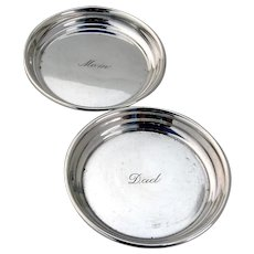Coasters 2 Mom Dad Sterling Silver Shreve and Co