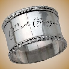 Napkin Ring Gadroon Borders Sterling Silver 1898