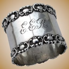 Ornate Napkin Ring Frank Whiting Sterling Silver 1890