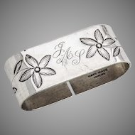 Oval Napkin Ring Floral Design Sterling Silver Hand Made