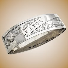 Napkin Ring Sterling Silver Oval International Monogram Lester