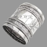 Napkin Ring Aesthetic Period Coin Silver 1870