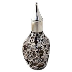 Perfume Bottle Sterling Silver Overlay Cherry Blossoms