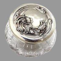 Art Nouveau Poppy Jam Jar Sterling Silver Cut Glass Unger Brothers 1900