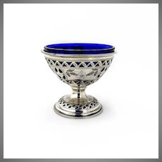 Open Salt Dish Cobalt Glass Sterling Silver Ellis Jacob Greenberg London 1929