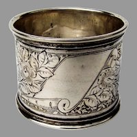 German 800 Silver Floral Engraved Napkin Ring Blank Cartouche 1890