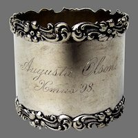 Vanderslice Co Napkin Ring Applied Floral Scroll Rims Sterling Silver
