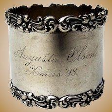 Vanderslice Co Napkin Ring Applied Floral Scroll Rims Sterling Silver