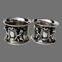 German 813 Silver Large Ornate Napkin Rings Pair 1850