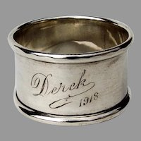 English Sterling Silver Small Napkin Ring Applied Rims 1918
