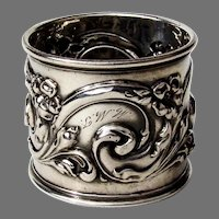 Ornate Scroll Design Napkin Ring Mauser Sterling Silver 1900 Mono
