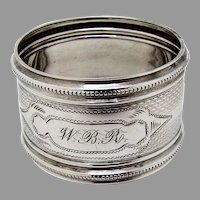 Small Round Engine Turned Napkin Ring Coin Silver 1885