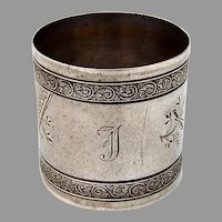 Wallace Sterling Silver Napkin Ring Scroll Borders 1880 Mono