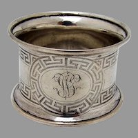 Greek Key Large Napkin Ring Coin Silver Mono