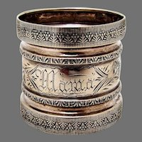 Ornate Engine Turned Napkin Ring Coin Silver 1870 Mama