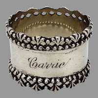 Towle Sterling Silver Napkin Ring Applied Pierced Rims 1890
