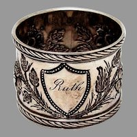 Repousse Engraved Floral Napkin Ring Coin Silver 1880