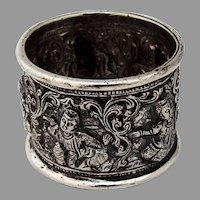 Indian Repousse Figural Napkin Ring Sterling Silver 1910