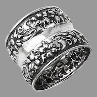 Repousse Floral Napkin Ring Watson Co Sterling Silver 1900