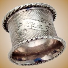 Engine Turned Coin Silver Napkin Ring Twisted Rope Border 1860
