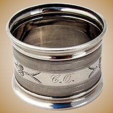 Engine Turned Engraved Napkin Ring Coin Silver 1860 Mono
