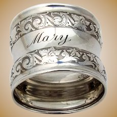 Foliate Waisted Napkin Ring Sterling Silver 1910s