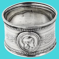 Coin Silver Medallion Napkin Ring Beaded Engraved 1865 Mono