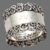 Foliate Scroll Openwork Border Napkin Ring Sterling Silver 1905